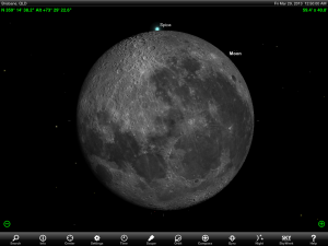 Moon and Jupiter finder chart for 2 pm AEST 18 March 2013. Add one hour if your state or territory follows 'Summer Time'. Chart prepared using the highly recommended Sky Safari Pro tablet app. Used with permission.