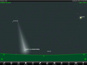 Saturn, Moon and Scorpius finder chart for 1 am AEST 4 February 2013. Add one hour if your state or territory follows 'Summer Time'. Chart prepared using the highly recommended Sky Safari Pro tablet app. Used with permission.