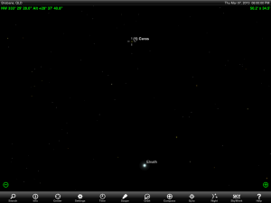Wide angle Ceres finder chart for 7 pm AEST 7 March 2013. Add one hour if your state or territory follows 'Summer Time'. Chart prepared using the highly recommended Sky Safari Pro tablet app. Used with permission.