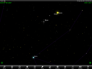 Moon and Saturn finder chart for 8 pm AEST 26 April 2013.  Chart prepared using the highly recommended Sky Safari Pro tablet app. Used with permission.