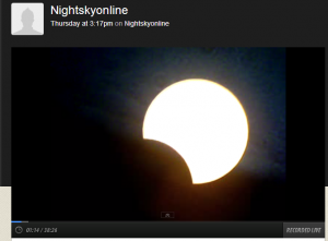 Screenshot of my abruptly terminated webcast of the partial solar eclipse from Canberra, Australia on Friday 10 May 2013.