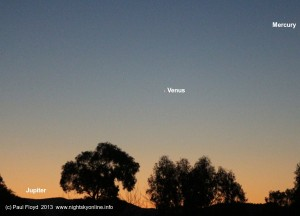 Mercury, Venus and Jupiter captured in the evening twilight on 3 June 2013. (c) Paul Floyd 2013