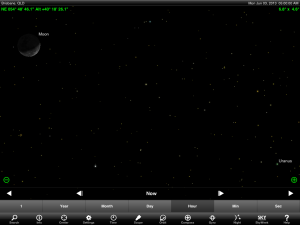 Uranus and Moon finder chart for 5 am AEST 3 June 2013. Chart prepared using the highly recommended Sky Safari Pro tablet app. Used with permission.