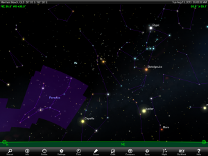 Constellation Perseus finder chart for 5 am AEST 13 August 2013. Chart prepared using the highly recommended Sky Safari Pro tablet app. Used with permission.