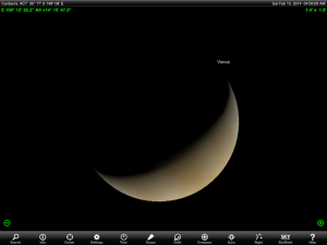 Venus's appearance  at 4 am AEST / 5 am AEDT 15 February 2014. Image created using the highly recommended Sky Safari Pro tablet app. Used with permission.