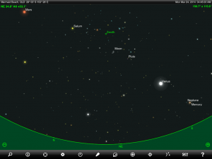 Mercury, Venus, Mars, Saturn and Moon finder chart 4:45 am AEST / 5:45 am AEDT Monday 24 March 2014. Chart prepared for Brisbane, Gold Coast and Tweed Heads. Chart prepared using the SkySafari Pro tablet app. Used with permission.