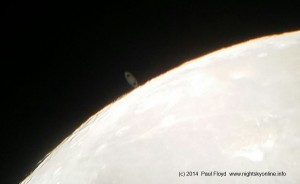 (c) 2014 Paul Floyd. Saturn just about to disappear behind the Moon.