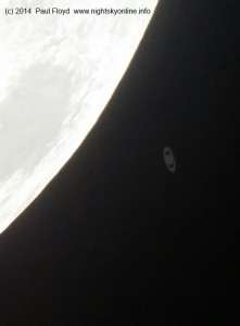 (c) 2014 Paul Floyd. Saturn minutes after reappearing from behind the Moon.