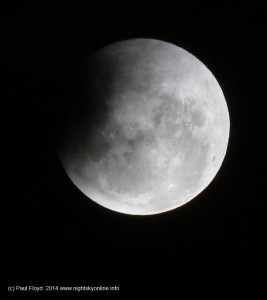 Sadly cloud prevented me from photographing April 2014's total lunar eclipse. The best I could do is photograph the partial phase once the cloud cleared. (c) 2014 Paul Floyd.
