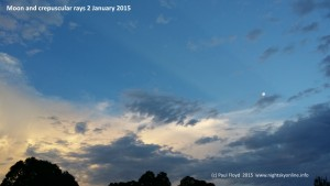 Moon and delicate crepuscular rays over Canberra 2 January 2015 (c) Paul Floyd