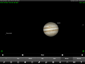Moon and Jupiter finder chart. Chart prepared for 8 pm AEST / 9 pm AEDT on Tuesday 3 March 2015 for the Gold Coast, Queensland (but will be also useful for elsewhere in Eastern Australia). Chart prepared using the highly recommended Sky Safari Pro tablet app. Used with permission.