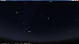 Looking North at 8 pm AEST. Produced for an observer based on the Gold Coast, Queensland, Australia using the freeware astronomy program Stellarium. The chart will also be useful for an observer based elsewhere on the East Coast of Australia.