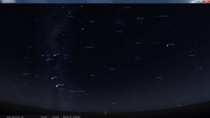 Looking South at 8 pm AEST. Produced for an observer based on the Gold Coast, Queensland, Australia using the freeware astronomy program Stellarium. The chart will also be useful for an observer based elsewhere on the East Coast of Australia.