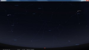 Looking West at 8 pm AEST. Produced for an observer based on the Gold Coast, Queensland, Australia using the freeware astronomy program Stellarium. The chart will also be useful for an observer based elsewhere on the East Coast of Australia.