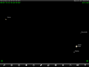 Venus, Jupiter and Regulus finder chart. Chart prepared for 6:30 pm AEST on Wednesday 1 July 2015 for the Gold Coast, Queensland (but will be also useful for elsewhere in Eastern Australia). Chart prepared using the highly recommended Sky Safari Pro tablet app. Used with permission.