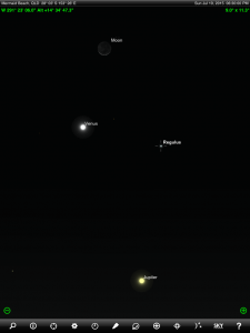 Above: Venus, Jupiter, crescent Moon and Regulus finder chart. Chart prepared for 6:30 pm AEST on Sunday 19 July 2015 for the Gold Coast, Queensland (but will be also useful for elsewhere in Eastern Australia). Chart prepared using the highly recommended Sky Safari Pro tablet app. Used with permission.