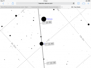 Finder chart for International Space Station pass over Jupiter for Sydney CBD for 5:33 pm Wednesday 8 July 2015. Chart courtesy Heavens-Above.com site.