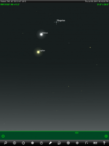 Venus and Jupiter finder chart. Chart prepared for 6:16 pm AEST on Thursday 9 July 2015 for Hobart, Tasmania. Chart prepared using the highly recommended Sky Safari Pro tablet app. Used with permission.