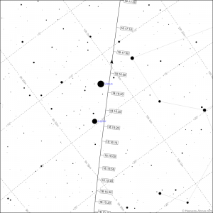 Finder chart for International Space Station pass for Hobart for Thursday 9 July 2015 for 6:16 pm AEST. Chart courtesy Heavens-Above.com site.