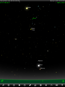 Mercury, Venus, Jupiter, Saturn, Neptune and Pluto finder chart. Chart prepared for 4:45 am AEST on Monday 15 April 2019 for the Gold Coast, Queensland (but will be also useful for elsewhere in Eastern Australia). Chart prepared using the highly recommended Sky Safari Pro tablet app. Used with permission.
