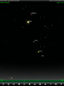 Jupiter, Saturn and Pluto finder chart. Chart prepared for 6:30 pm AEST on Monday 15 June 2019 for the Gold Coast, Queensland (but will be also useful for elsewhere in Eastern Australia). Chart prepared using the highly recommended Sky Safari Pro tablet app. Used with permission.