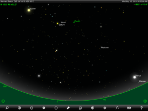 Venus, Jupiter, Saturn, Uranus, Neptune and Pluto finder chart. Chart prepared for 5 am AEST on Wednesday 15 May 2019 for the Gold Coast, Queensland (but will be also useful for elsewhere in Eastern Australia). Chart prepared using the highly recommended Sky Safari Pro tablet app. Used with permission.