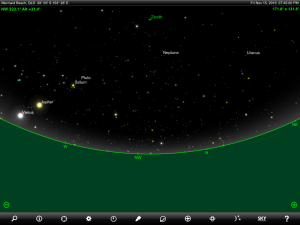 Venus, Jupiter, Saturn, Uranus, Neptune and Pluto finder chart. Chart prepared for 7:45 pm AEST on Friday 15 November 2019 for the Gold Coast, Queensland (but will be also useful for elsewhere in Eastern Australia). Chart prepared using the highly recommended Sky Safari Pro tablet app. Used with permission.