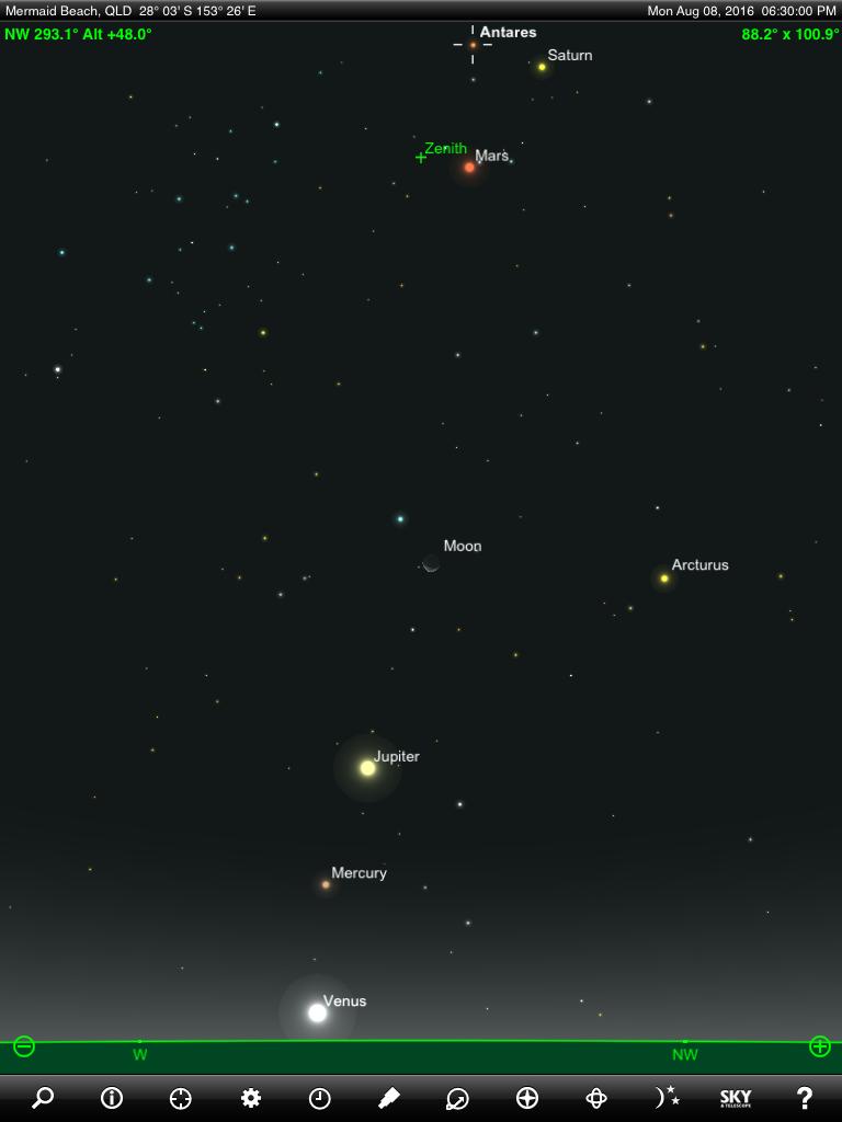 الشمس والقمر والكواكب  8_August_2016_Moon_Mercury_Venus_Mars_Jupiter_Saturn_Antares_finder_chart_6_30_pm_AEST_Gold_Coast_Queensland