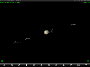 Jupiter and Regulus (the brightest star in the ancient Greek constellation Leo the 'Lion') finder chart. Chart prepared for 6.30 p.m. AEST on Sunday 22 May 2016 for the Gold Coast, Queensland, Australia (but will be useful for elsewhere in Eastern Australia). Chart prepared using the highly recommended Sky Safari Pro tablet app. Used with permission.