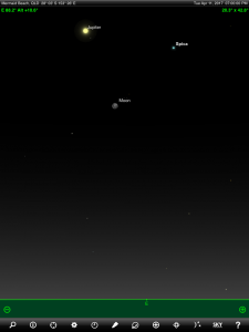 Moon, Jupiter and Spica (the brightest star in the ancient Greek constellation Virgo 'The Virgin') finder chart. Chart prepared for 7 pm AEST on Tuesday 11 April 2017 for the Gold Coast, Queensland, Australia (but will be also useful for elsewhere in Eastern Australia). Chart prepared using the highly recommended Sky Safari Pro tablet app. Used with permission.