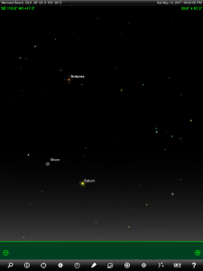 Moon, Saturn and Antares (the brightest star in the ancient Greek constellation Scorpius 'The Scorpion') finder chart. Chart prepared for 8 pm AEST on Saturday 13 May 2017 for the Gold Coast, Queensland, Australia (but will be also useful for elsewhere in Eastern Australia). Chart prepared using the highly recommended Sky Safari Pro tablet app. Used with permission.