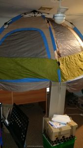 A pop up camping tent - minus it's floor makes a great practice planetarium dome. (c) 2015 Paul Floyd.