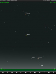 Moon, Mercury, Saturn and Antares finder chart. Chart prepared for 8.30 pm AEST on Thursday 26 January 2016 for the Gold Coast, Queensland, Australia (but will be also useful for elsewhere in Eastern Australia). Chart prepared using the highly recommended Sky Safari Pro tablet app. Used with permission.