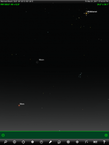 Moon, Mars and Aldebaran (the brightest star in the ancient Greek constellation Taurus 'The Bull