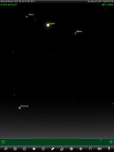 Moon, Jupiter and Spica (the brightest star in the ancient Greek constellation Virgo 'The Virgin') finder chart. Chart prepared for 7 pm AEST ond Sunday 7 May 2017 for the Gold Coast, Queensland, Australia (but will be also useful for elsewhere in Eastern Australia). Chart prepared using the highly recommended Sky Safari Pro tablet app. Used with permission.