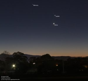 (c) 2016 Paul Floyd Mercury, Venus and Jupiter dazzle in the evening twilight on Friday 26 August 2016. Photo taken from southern Canberra, Australia.
