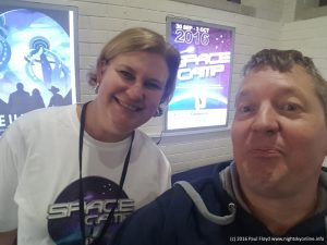 Ingrid McCarthy (Inspiring Australia ACT Program Manager) and Paul Floyd (www.nightskyonline.info) at the 2016 Canberra Space Camp venue.