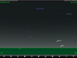 Mercury and Saturn finder chart. Chart prepared for 7.45 pm AEST / 8.45 pm AEDT on Friday 1 December 2017 for the Gold Coast, Queensland, Australia (but will be also useful for elsewhere in Eastern Australia). Chart prepared using the highly recommended Sky Safari Pro tablet app. Used with permission.