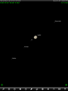 Moon and Jupiter finder chart. Chart prepared for 6.30 pm AEST on Saturday 1 July 2017 for the Gold Coast, Queensland, Australia (but will be also useful for elsewhere in Eastern Australia). Jupiter's Galilean Moons are visible through a medium sized pair of binoculars or a small telescope. Chart prepared using the highly recommended Sky Safari Pro tablet app. Used with permission.