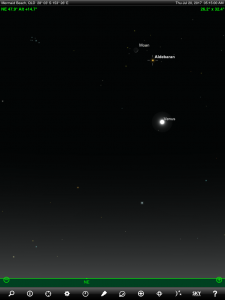Moon, Saturn and Antares (the brightest star in the ancient Greek constellation Scorpius 'The Scorpion') finder chart. Chart prepared for 6.30 pm AEST on Friday 7 July 2017 for the Gold Coast, Queensland, Australia (but will be also useful for elsewhere in Eastern Australia). Chart prepared using the highly recommended Sky Safari Pro tablet app. Used with permission.